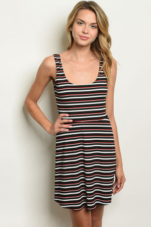 C38-A-5-D5650 BLACK RED STRIPES DRESS 3-2-1