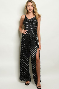 S6-8-2-J3009 BLACK W/ DOTS JUMPSUIT 2-2-2