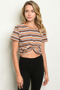 S10-8-2-T4059 MUSTARD STRIPES TOP 3-2-1