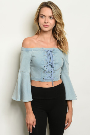 S10-4-4-T1333 LIGHT BLUE DENIM TOP 2-2-2