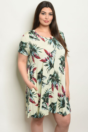 C6-A-5-D1584X LIME WITH LEAVES PRINT PLUS SIZE DRESS 2-2-2