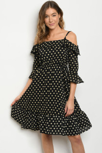 S19-12-4-D5688 BLACK TAN POLKA DOTS DRESS 2-2-2