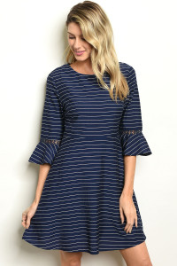 S10-8-4-D5906 NAVY STRIPES DRESS 2-2-2