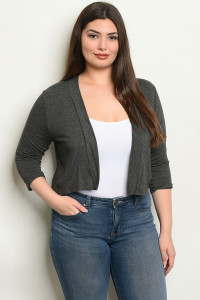 C44-B-3-C8187X CHARCOAL PLUS SIZE CARDIGAN 2-2-2