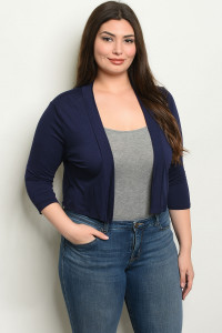 C46-B-3-C8187X NAVY PLUS SIZE CARDIGAN 2-2-2