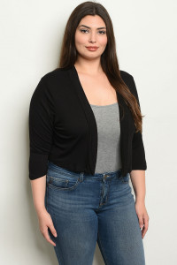 C48-B-3-C8187X BLACK PLUS SIZE CARDIGAN 2-2-2
