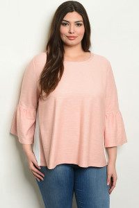 S14-11-4-T6091X PINK OFF WHITE PLUS SIZE TOP 1-3-2-1