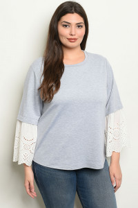 S10-1-4-T6072X GRAY WHITE PLUS SIZE TOP 1-2-2-1