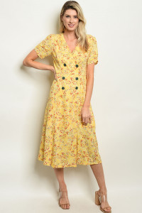S17-3-5-D14795 YELLOW FLORAL DRESS 1-1-1
