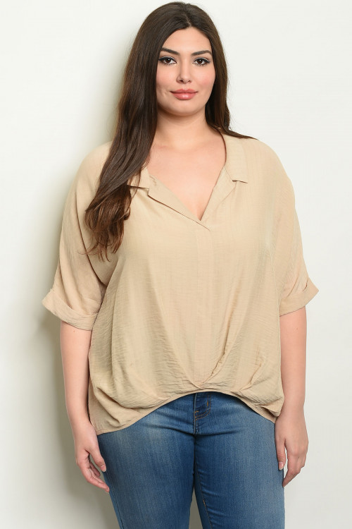 S16-8-3-T6103X SAND PLUS SIZE TOP 1-2-2-1