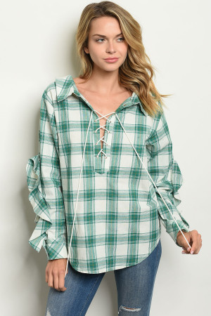 S20-12-5-T76119 GREEN CHECKERED TOP / 3PCS