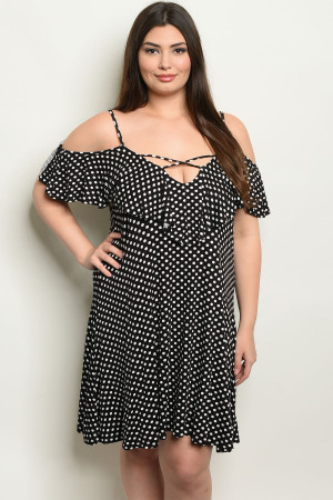 C15-A-3-D4009X BLACK WHITE WITH DOTS PLUS SIZE DRESS 2-2-2