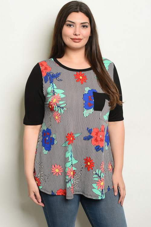 C10-B-1-T2012X BLACK STRIPES WITH FLOWER PLUS SIZE TOP 2-2