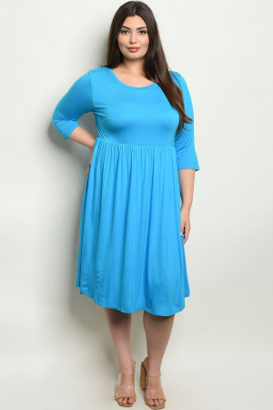 C7-A-7-D1065X TURQUOISE PLUS SIZE DRESS 2-2-2