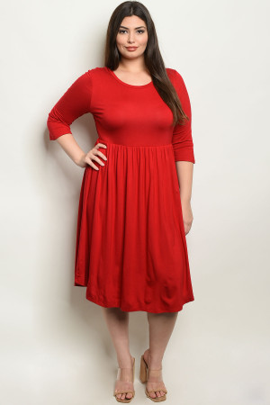 C9-A-7-D1065X RED PLUS SIZE DRESS 2-2-2