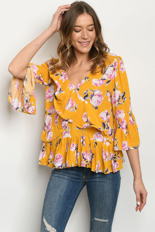 S25-5-4-T18045 MUSTARD FLORAL TOP 2-2-2