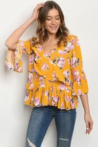 S16-7-1-T18045 MUSTARD FLORAL TOP 3-2-2