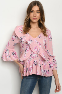 S16-7-1-T18045 PINK FLORAL TOP 3-2-2