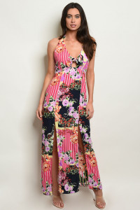S17-8-2-D10119 MULTI STRIPES WITH FLOWER DRESS 1-1-1