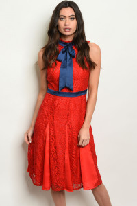 S16-11-3-D1112 RED NAVY DRESS 1-1-2