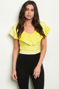C79-B-4-T3928 YELLOW STRIPES TOP 2-2-2