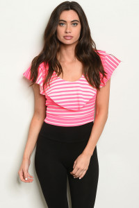 C79-B-5-T3928 NEON PINK STRIPES TOP 2-2-2