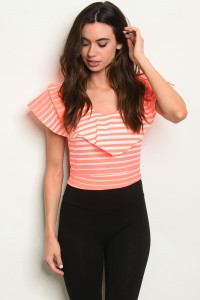 C79-B-6-T3928 NEON ORANGE STRIPES TOP 2-2-2