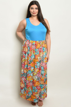 S7-2-4-D2039X TURQUOISE CORAL DRESS 1-2-2-1