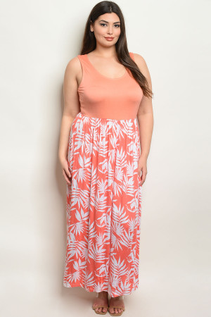 S7-2-4-D2039X PEACH WHITE PRINT DRESS 1-3-2