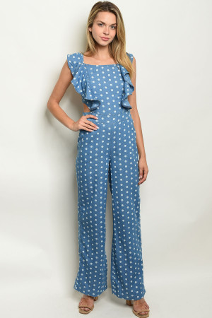 S8-6-2-J17114 BLUE DENIM WITH DOTS JUMPSUIT 3-2-1