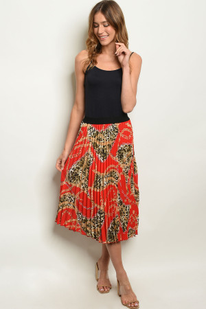 C78-A-1-S259495 RED WITH CHAIN PRINT SKIRT 1-1-2-1