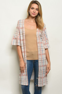 C87-A-2-C0791 BLUSH CHECKERS CARDIGAN 2-2-2