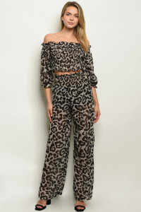 S22-2-4-SET5370 GREY ANIMAL PRINT TOP & PANTS SET 3-2-1