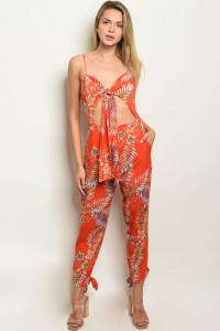 S22-5-3-J50395 ORANGE W/ FLOWERS PRINT JUMPSUIT 2-2-2