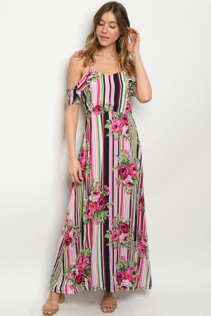S22-3-1-D019 FUCHSIA STRIPES W/ FLOWERS DRESS 2-2-2