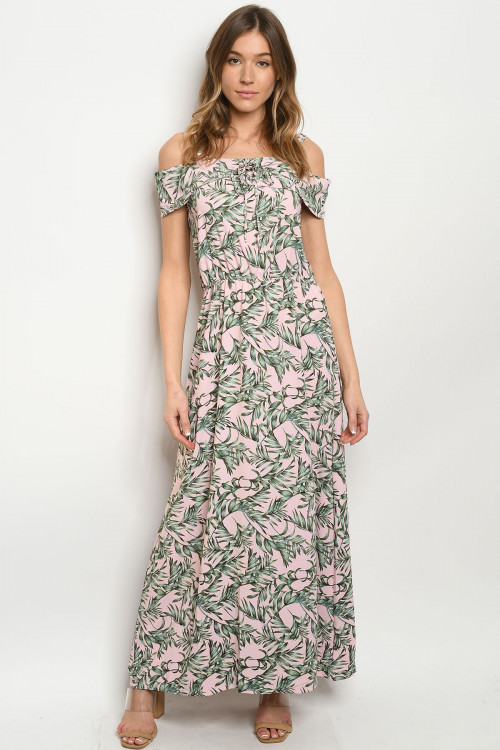 S22-2-2-D017 PINK W/ LEAVES PRINT DRESS 2-2-2