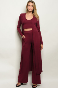 C5-A-2-SET1226 BURGUNDY TOP, CARDIGAN, & PANTS SET 2-2-2