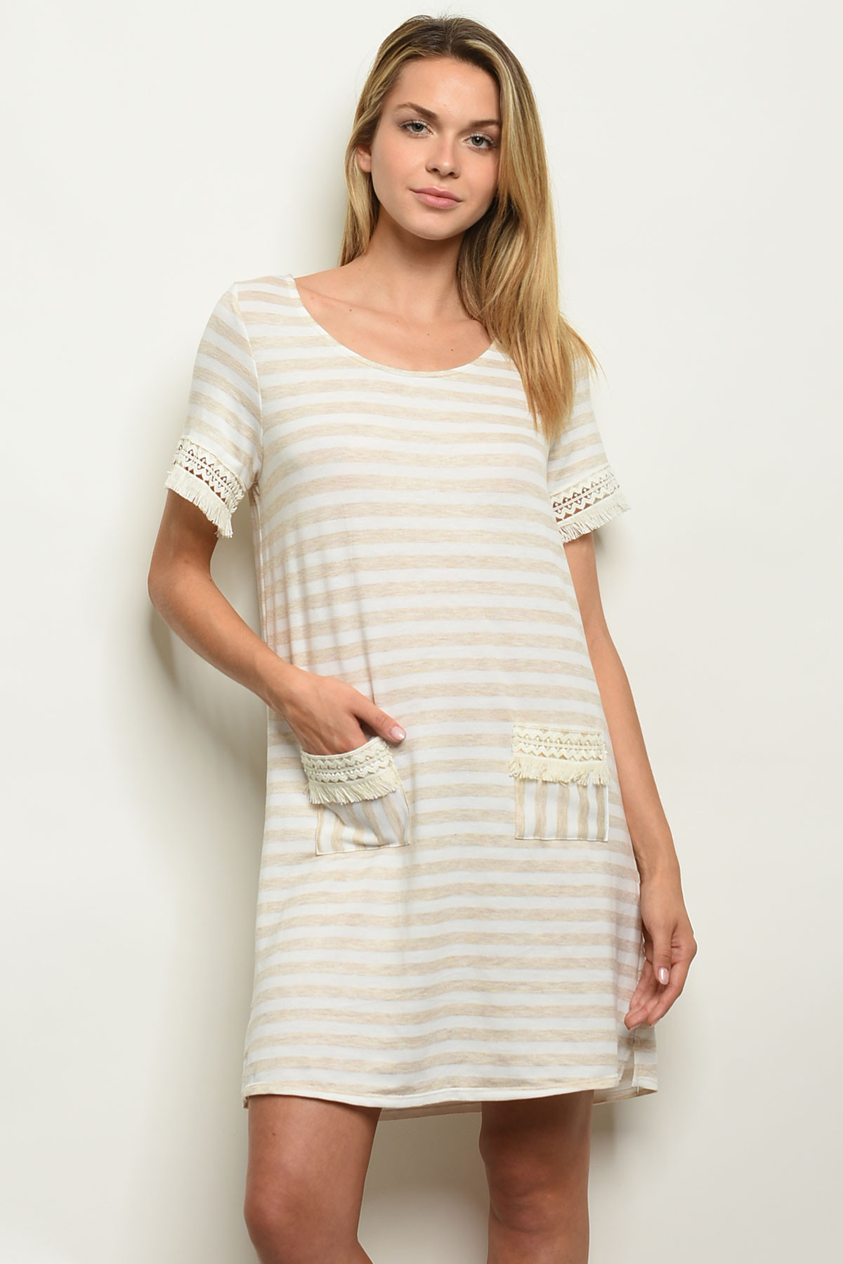 1f85c69dccc C55-A-2-D1169 IVORY SAND STRIPES DRESS 2-2-2