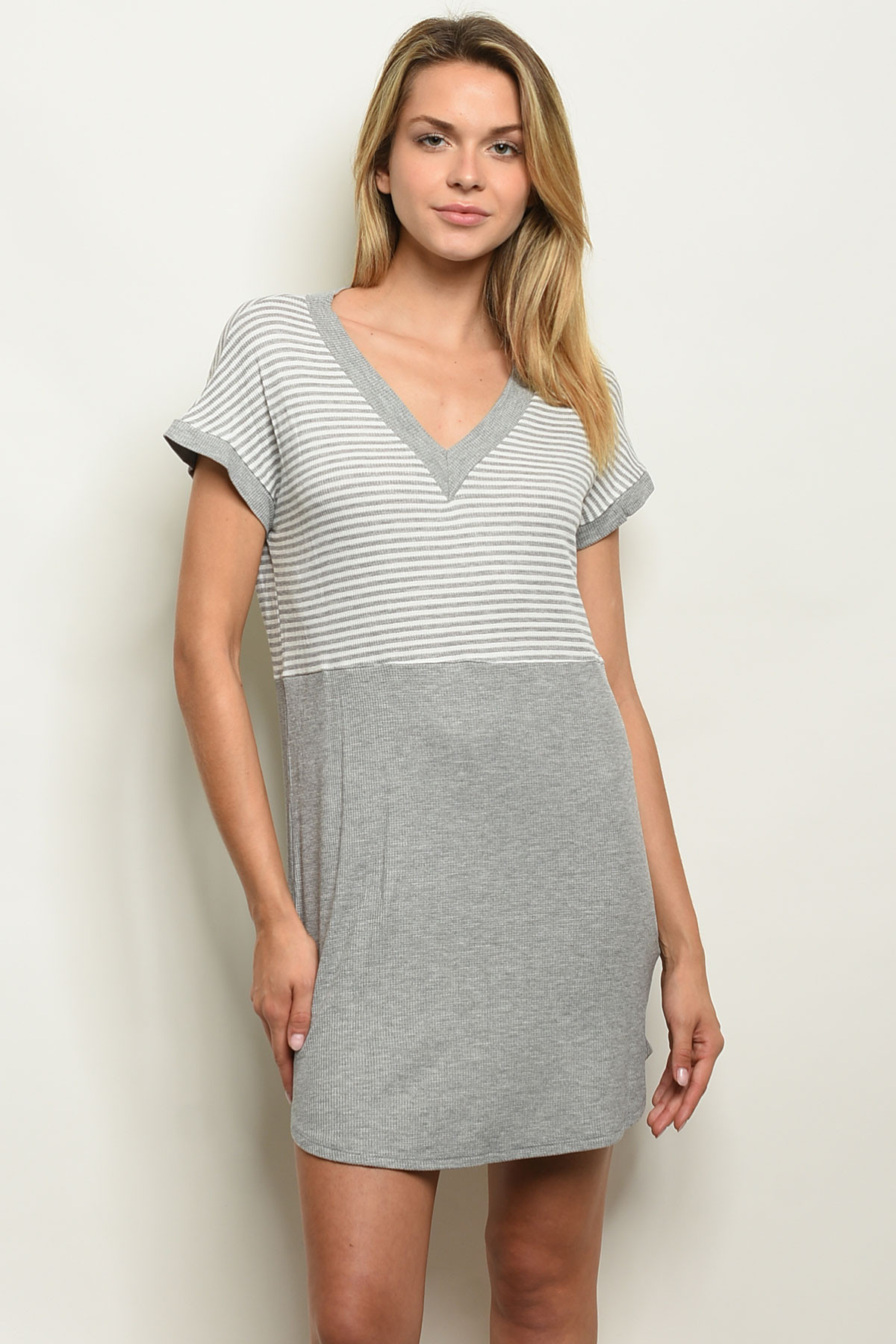 c34769b00b5 C45-A-3-D1140 GRAY WHITE STRIPES DRESS 2-2-2