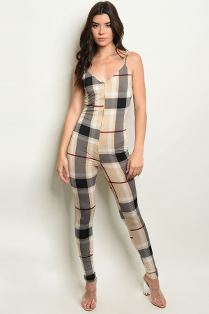 C59-A-1-J4209 TAUPE CHECKERED JUMPSUIT 2-3