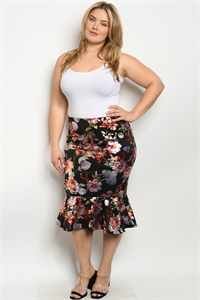 S25-6-2-S238542X BLACK FLORAL PLUS SIZE SKIRT 1-1-2-2  ***WARNING: California Proposition 65***