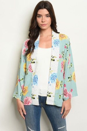 S14-9-5-C90816 SAGE FLORAL WITH DOTS KIMONO 2-2-2