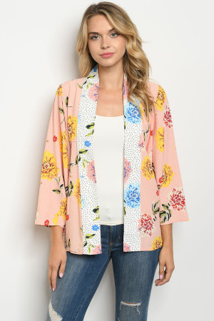 S23-4-1-C90816 BLUSH FLORAL WITH DOTS KIMONO 2-2-2
