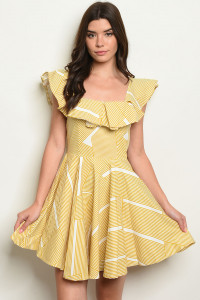 S17-8-2-D42780 MUSTARD STRIPES DRESS 1-1-1