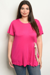 C87-A-3-T2081X FUCHSIA PLUS SIZE TOP 2-2-2