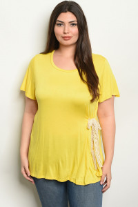 C87-A-3-T2081X YELLOW PLUS SIZE TOP 2-2-2