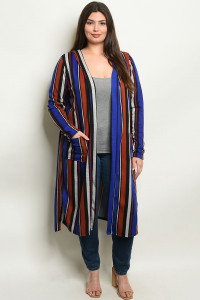 C91-A-7-C838X ROYAL MULTI STRIPES PLUS SIZE CARDIGAN 2-2-2