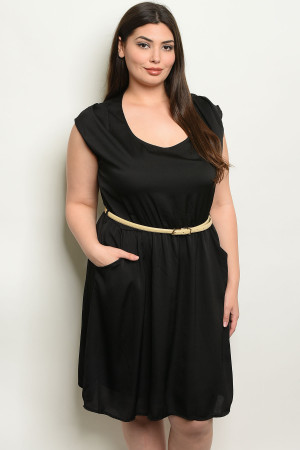 C94-A-7-D6786X BLACK PLUS SIZE DRESS 2-2-2