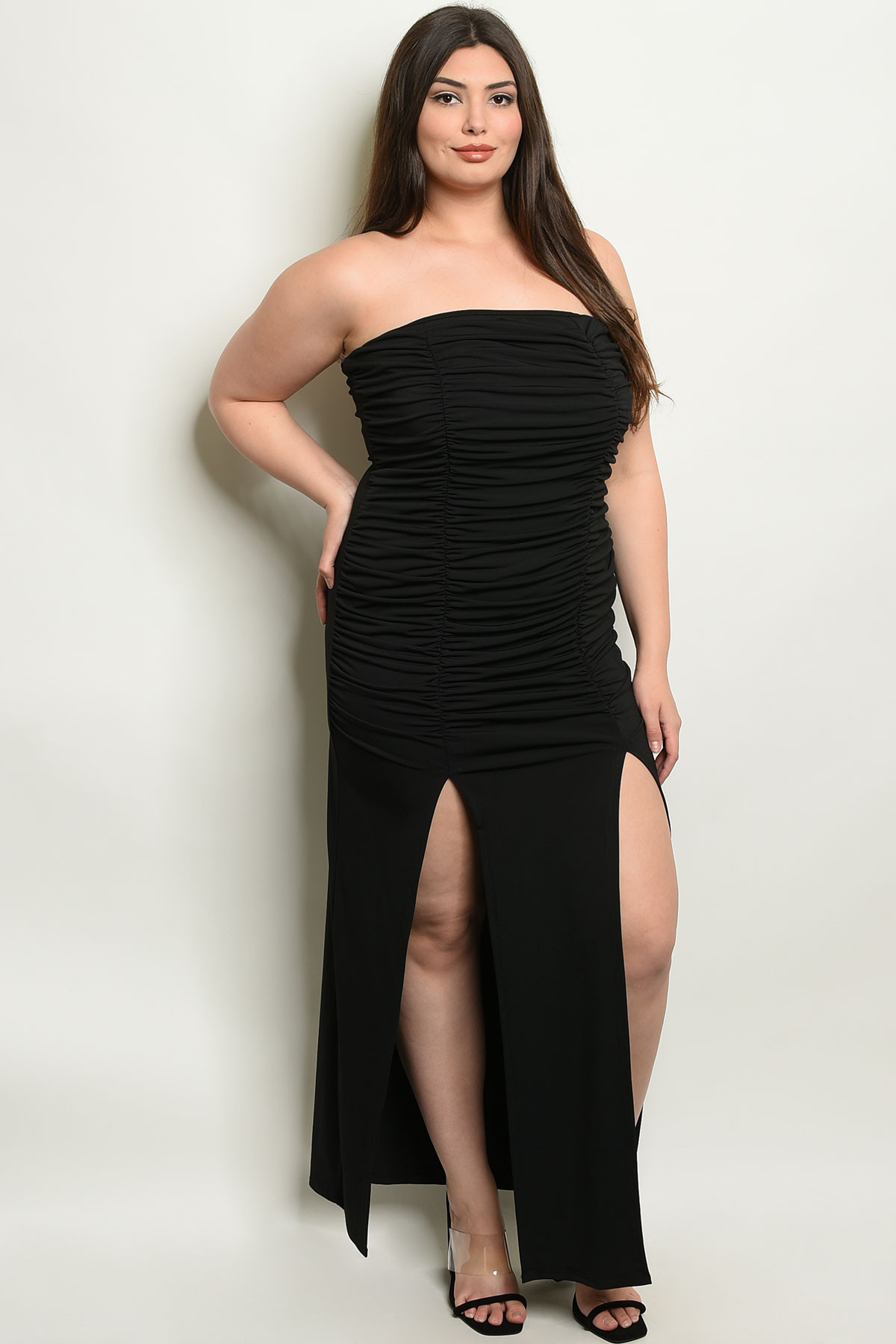 C91-A-3-D6966X BLACK PLUS SIZE DRESS 2-2-2