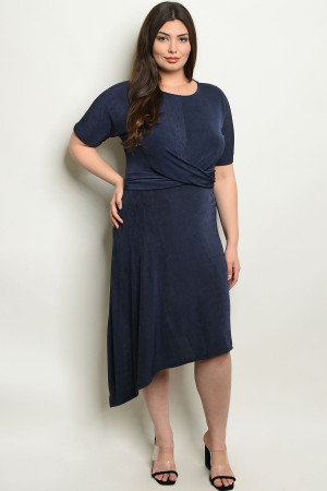 C93-A-6-D7690X NAVY PLUS SIZE DRESS 2-2-2